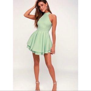 Lulu's Mint Halter Skater Dress
